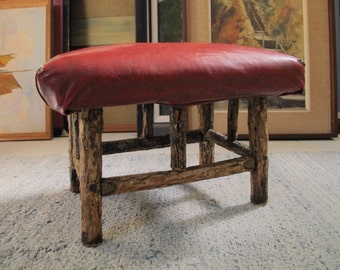 Folk Art Footstool Red Naugahyde & Branch Primitive Rustic Twig Frame Lodge Cabin Decor Hand Crafted 1940s Tramp Art Adirondack Furniture