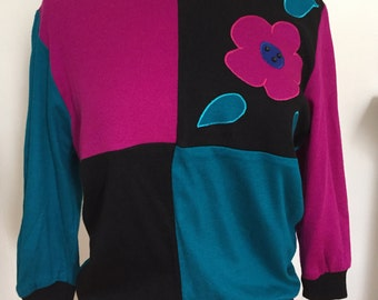 Vintage 1980s Colorblock Pullover Top, Flower Power Applique, Pop Art Cape Cod Sportswear, Magenta, Teal, Black Size Small to Medium 38B