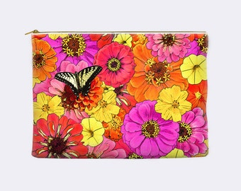 Floral Zippered Pouch, pencil pouch, toiletry bag, cosmetic pouch, makeup bag, large cosmetic bag, small clutch, pencil case, yellow, pink