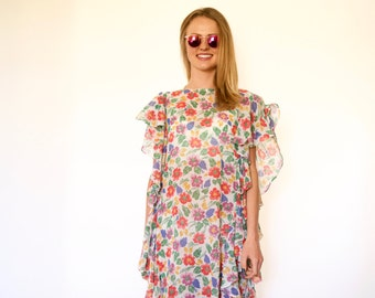 70s Colorful Floral Oversized Ruffle Sides Gauzy Caftan Dress s m