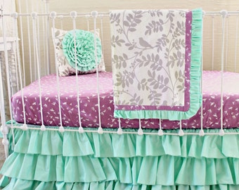 Mint Green Baby Girl bedding, purple and mint modern crib bedding, lavendar gray mint purple crib set , mint ruffle crib skirt  lottiedababy