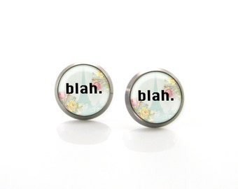 Blah Romantic Sarcastic Paris French Post Earrings | Hypoallergenic Earring Stud | Titanium Earring Stud | Nickel Free | Sensitive jewelry