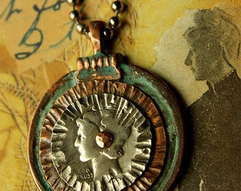 SILVER mercury DIME pendant... antique coin stack - copper, silver with patina