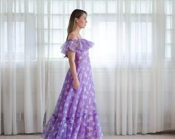 70s Party Dress - Vintage 1970s Floral Maxi Dress - Lupine Bloom Dress