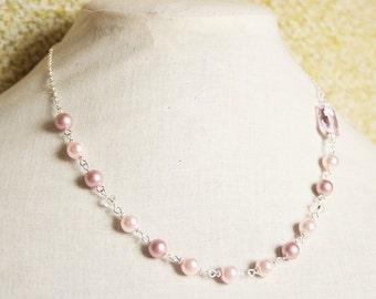 Handmade Pink Necklace Pink Pearl Necklace Pink Swarovski Pearl Swarovski Rosaline Pink Crystal Necklace Pink Crystal Pearl Pink Bridesmaids