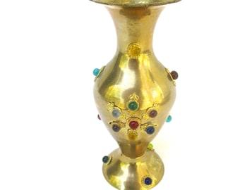 Vintage Brass Vase Brass Vessel Bejeweled Brass Container Small Boho Vase Eclectic Vessel Brass Decor Small Vintage Brass Vase