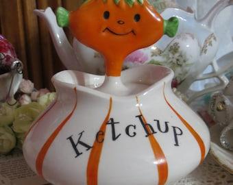Vintage Holt Howard Pixieware Ketchup Jar Porcelain orange elf spoon Japan 1950s