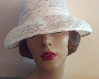 Vintage 1950s 1960s Hat White Lace Bucket Style