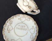 Vintage Mini Tea Cup and Saucer - Just Married