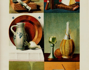 1903 Antique Family Matters print, books, tools, dishes, tobacco, pen and ink to write notes, chromolithograph