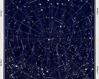 Vintage print 1950 Large Vintage STARS MAP print, Constellations, vintage astronomy