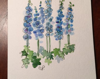 Blue Delphinium Watercolor Card / Hand Painted Watercolor Card