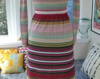 70s RONCELLI—Metallic Striped Knit Dress—Thinnest Lurex, Acrylic & Wool Blend—Different Sizes of Stripes