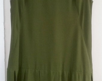 60s ELOISE CURTIS for David Styne--Moss Crepe Shift Dress--Flapper Style--Multi-Box Pleat Hem--Olive, Hot Coral, & Chartreuse--Size 6