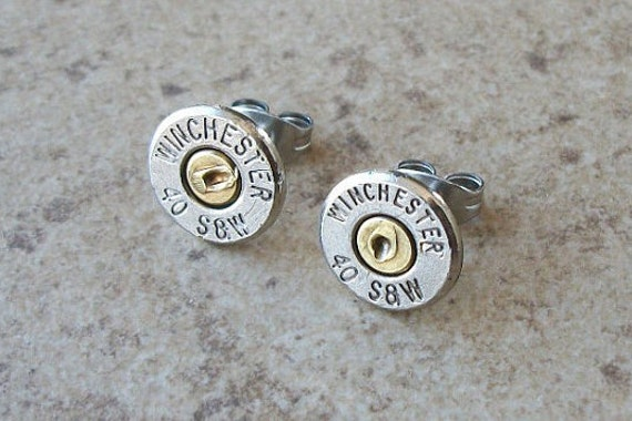 Stud Earring, Winchester 40 S&W Bullet Casing Earring, Two Tone Nickel/Brass Stud Earrings , Surgical Steel, Sterling Silver Post - 441