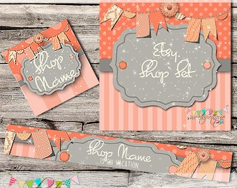 Etsy Shop Set - Premade Etsy Banner - Etsy Shop Banner - Etsy Cover - Etsy Shop Icon - Avatar - Peaches n Cream