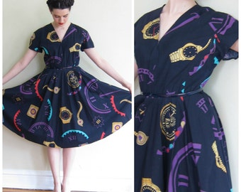 Vintage 1980s Designer Louis Feraud Novelty Print Day Dress / 80s does 50s Clock Work Watches Graphic Dress Circle Skirt / Medium