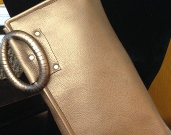 Bronze Leather Clutch - 100% Handmade - Ready to Ship