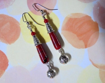 Red and Silver Lady Bug Earrings (2371)