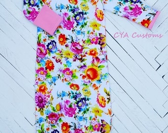 Infant gown baby girl sleeper pajamas fits 0-3 months up to 12 lbs. flower garden