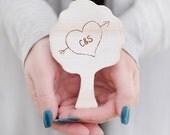 Personalised Couples Carved Heart Wooden Keepsake Tree