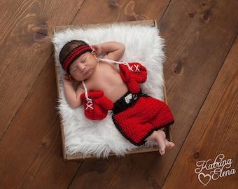 Newborn Boxer Photo Prop/Baby Boxer Set/ Newborn Photo Prop/ Baby Boy Prop/ Crochet Newborn Prop/ Red Black and White Set/Boxer