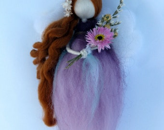 Wadorf angel Needle felted fairy Home decor with flowers