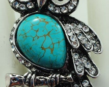 Sparkly Owl Ring/Silver/Turquoise/Rhinestone/Fall Jewelry/Adjustable/Under 20 USD