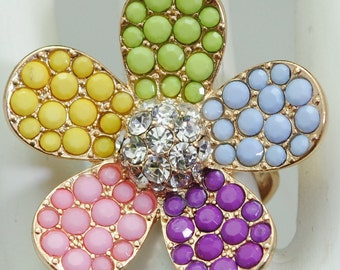 Multicolor Flower Ring/Rhinestone/Statement Ring/Gift For Her/Spring/Summer Jewelry/Pastel/Colorful/Adjustable/Under 15 USD/
