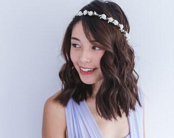 white rose flower crown // bridal wedding flower crown headband rustic forest garden spring woodland headpiece