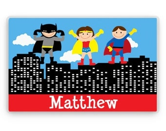 Personalized Placemat, Kids Personalized Place Mat, Superhero Personalized Gift, Childrens Super hero Placemats, Kids Personalized Gifts