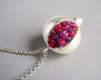 Pomegranate Pendant - Red Pink Gemstones Matte/Brushed Silver - Made To Order