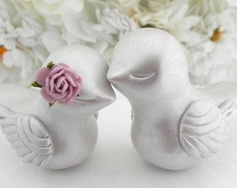 Love Bird Wedding Cake Topper, Mother of Pearl and Lilac,  Bride and Groom, Keepsake, You Choose Colors