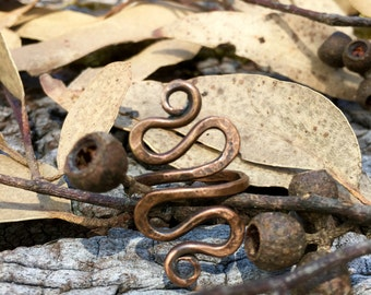 Rustic Copper Slither Ring Size 8