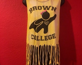 Brown College tank top, Upcycled, one of a kind, Caregiver