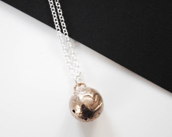 Pluto Necklace - Solid Bronze pendant of Pluto heart
