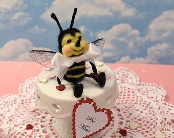 """Needle Felted """"Bee Mine"""" Valentine Bee And Custom Greeting!.............Free Shipping In The U.S."""