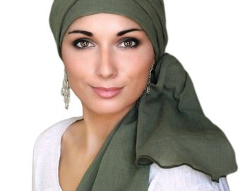 Olive Green Cotton Gauze Turban Hat, Head Wrap, Chemo Hat, Alopecia Scarf, Army Green Turban, Hat & Scarf Set 102-16