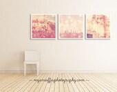 pink nursery prints, Los Angeles wall art, photography print set, LA photo set, girls room decor, baby room art, set of three prints