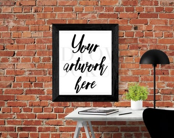 Brick background Print / Frame Mock Up for Bloggers, Wall Art Display Template Styled Desk Photography