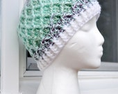 Crochet Lattice Hat - Light Green Variegated II
