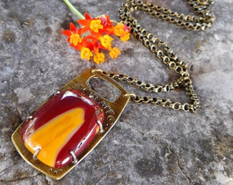 Mookaite and brass necklace- Stamped Create --Artisan stone necklace - metalwork necklace