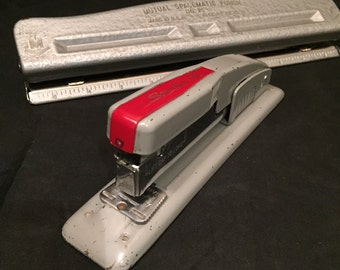 Vintage Swingline 400 Stapler,  Heavy Duty Stapler,  Industrial Grey And Red,  Home Office Or School