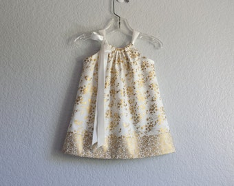 New! Girls Gold Party Dress with Bloomers - Metallic Gold Flowers on Cream - Infants Gold Holiday Dress - Size NB, 3m, 6m, 9m, 12m or 18m