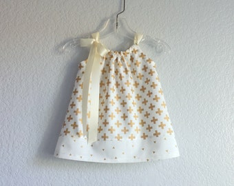 New! Baby Girls Ivory and Gold Dress and Bloomers Outfit - Metallic Gold Crosses on Ivory - Size Newborn, 3m, 6m, 9m, 12m or 18m