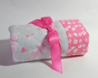 Handmade Flannel Baby Blanket - Pink Bunnies on Grey with Flowers - Reversible Baby Blanket, Baby Shower Gift, Receiving Blanket