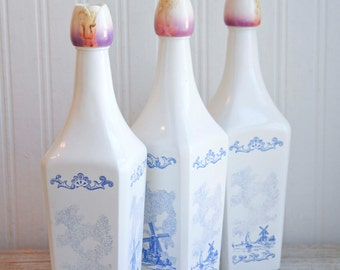 Vintage Blue Delf Liquor Bottles, White Milk Glass with Tulip Tops, Vintage Decanter, Nautical Home Decor, Vandermint Liqueur