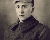 Young Man in UNUSUAL HAT Photo Postcard circa 1910s