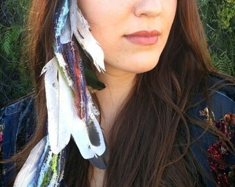 HIPPIE Hair Native Inspired FEATHER Hair EXTENSIONS Clip in Gypsy Hairpiece Bohemian Style Festival Wear Ethical Feathers Headdress