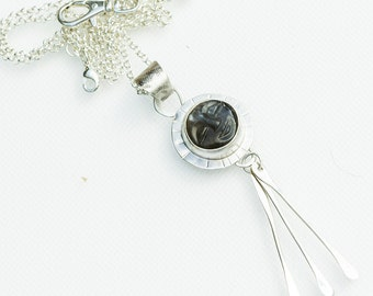 Black Moonstone Face Pendant with Sterling Silver